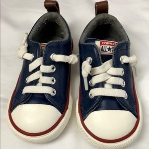 CONVERSE- Leather Infant Boys All Star Sneakers